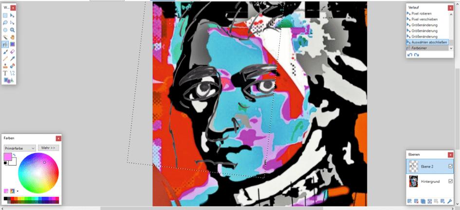 Zusammenfügen einer Mozart- Grafik mit dem Liniengerüst einer Schülerzeichnung